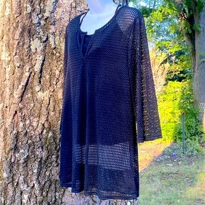 Jordan Taylor Black Large Tunic Top Swimsuit Cover Waffle Knit NWT